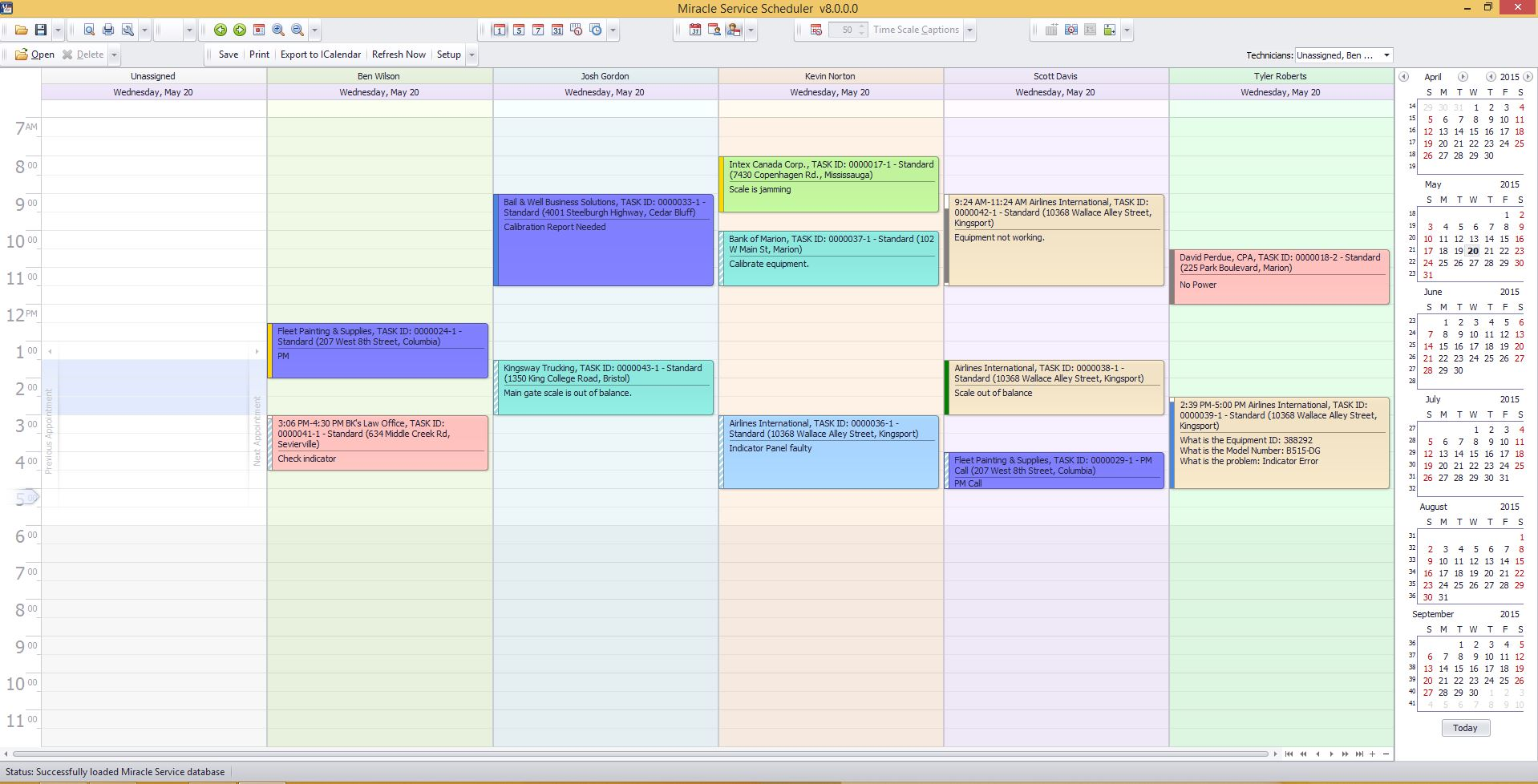 Technician scheduling visual scheduler